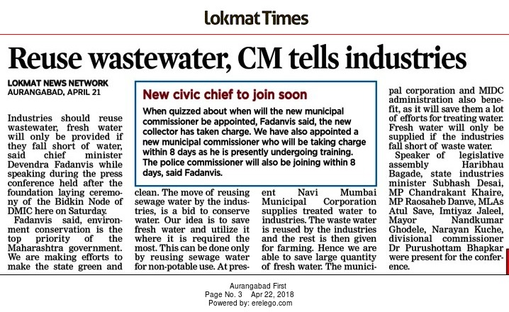 Reuse wastewater, CM tells industries