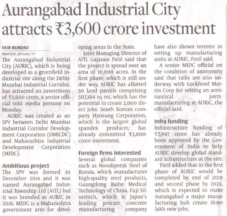 Aurangabad Industrial City attracts Rs. 3600 Crore Investment